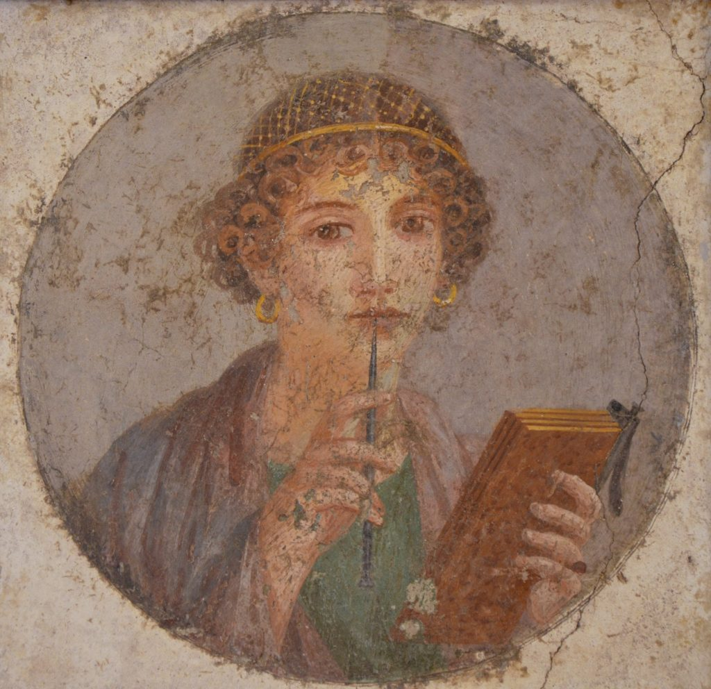 Woman with Stylus Pompeii fresco for contemplative writing blog post