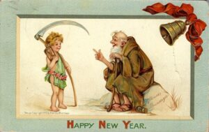 New Year's Eve postcard from 1911 for Cleansing and Renewal blog post