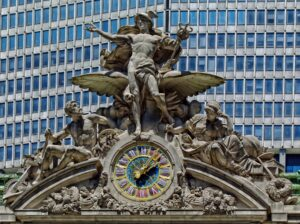 Glory of Commerce (1914), a sculptural group by Jules-Félix Coutan (1848–1939) featuring Mercury as the central figure atop Grand Central Terminal, New York City for Jungian Dreams blog post