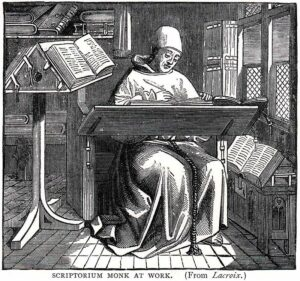 Scriptorum Monk at Work from Blades, William: Pentateuch of Printing with a Chapter on Judges (1891)
