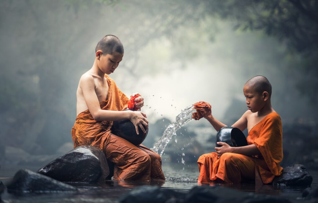 Two young Buddhist monks for rituals blog